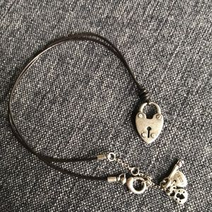 Fossil Heart Lock Leather Pendant Necklace